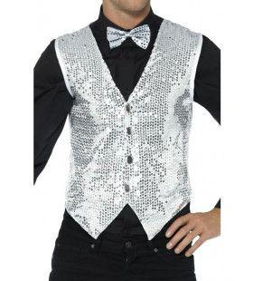 Glinsterend Zilveren Pailletten Vest