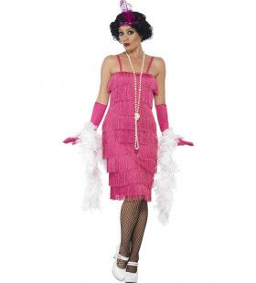 Miss Pink Champagne Flapper Lang Vrouw Kostuum