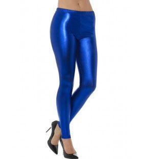 Blauwe Metallic Disco Legging Vrouw
