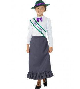 Victoriaanse Demonstrant Vrouwenkiesrecht Suffragette Meisje Kostuum