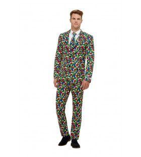 Kleurige Blokjes Rubiks Kubus Man Kostuum