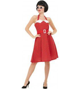 Rood Rock And Roll Jaren 50 Stippel Vrouw Kostuum