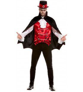 Dandy Dracula Bloedfeest Shirt Met Vest En Cape Man Kostuum
