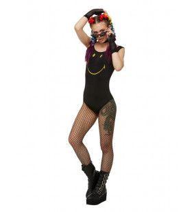 Zwart Smiley Raver Bodysuit Vrouw