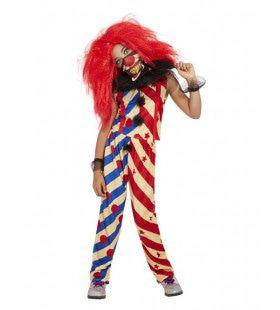 Gestreepte Enge Clown Meisje Kostuum