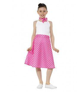 Roze Fleurige Stippen Jaren 50 Kind Polka Dot Meisje Kostuum