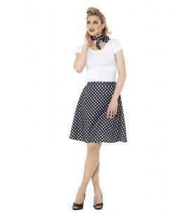 Zwart Witte Stippen Jaren 50 Polka Dot Vrouw Kostuum