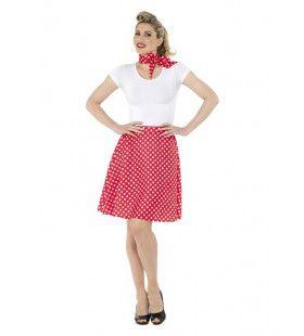 Rode Stippen Jaren 50 Polka Dot Vrouw Kostuum