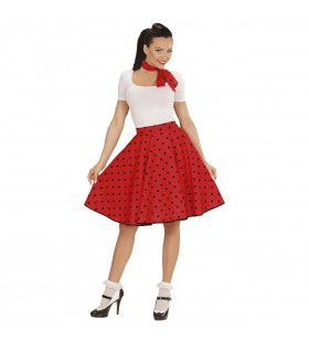 Red Doll 50s Rock And Roll Rok Met Nekband, Rood Vrouw Kostuum