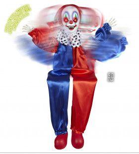Horror-Deco Animatie Killer Clown Met Lichtgevende Ogen En Geluid 90cm