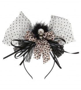 Classy Halloween Haarband Schedel Met Beige Strik