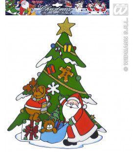Raamstickers Kerstboom Met Kerstman 40cm