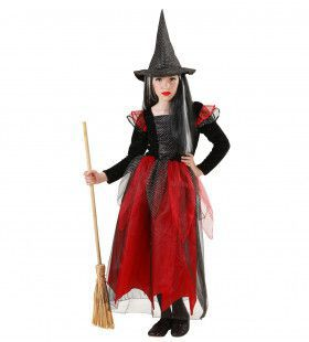 Heks Kind Zwart / Rood Meisje Kostuum