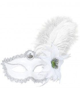 Oogmasker Wit Met Roos En Veren