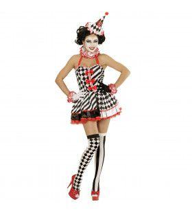 Druk Patroon Pierrot Meisje Vrouw Kostuum