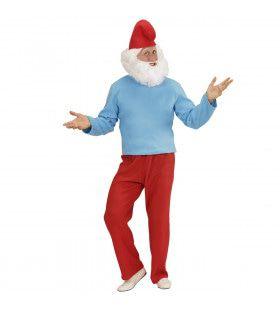 Hoofd Kabouter Grote Smurf Man Kostuum