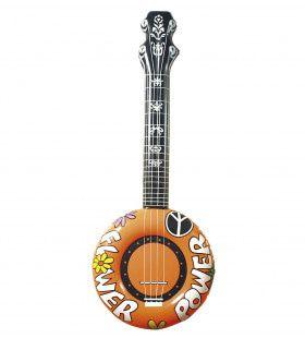 Opblaasbare Banjo, 100cm Oranje Flower Power