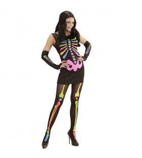 Neon Skelet Vrouw Disco Horror Kostuum