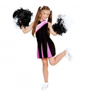 Amerikaanse Cheerleader Zwart / Rose Meisje Kostuum