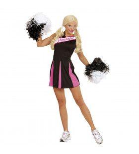 Amerikaanse Cheerleader Zwart / Roze Vrouw Kostuum