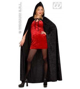 Fluwelen Lange Zwarte Cape (150cm) Cape Fear Kostuum