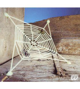 Spinnenweb Met 2 Spinnen, Lichtgevend In Donker