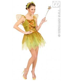 Betoverende Gouden Bosfee Kostuum Vrouw