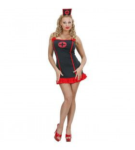 Sexy Verpleegster Zwart In Lycra Contour Kostuum Vrouw