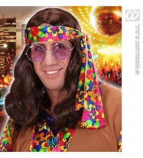 Pruik Hippie Lennon Bruin