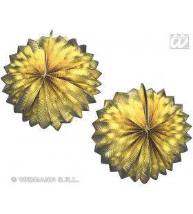 2 Goud Metallic Lampions, 25cm