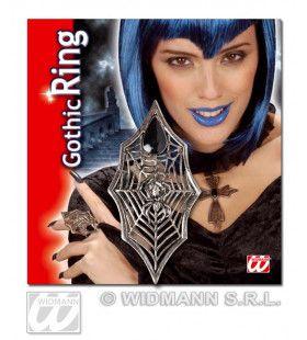 Gothic Ring Spin + Web Met Zwarte Gemsteen