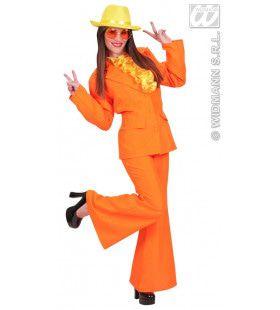 Neon Oranje, Dame Party Fever Girl XL Kostuum Vrouw