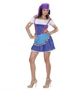 Aantrekkelijke Zigeuner & Zigeunerin Licht Blauw Kostuum Vrouw