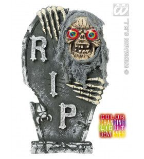 Grafsteen Skelet Ogen Met Licht