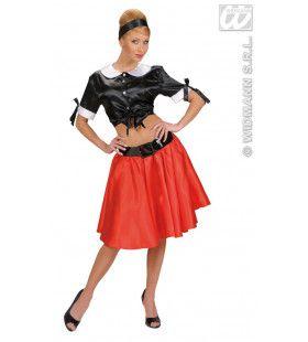 Satijnen Top, Zwart XL Vrouw Kostuum