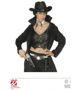 Black Ms Sheriff Luxe Dubbel Holster Cowboy, Zwart