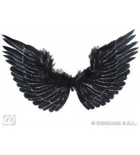 Vleugels Zwart Met Zilver Glitter 86x42 Centimeter