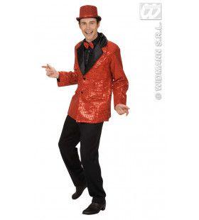 Pailletten Colbert, Rood XL Man Kostuum
