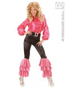 Zwarte Broek Fluweel Met Wt / Rose Pailletten Vrouw Kostuum