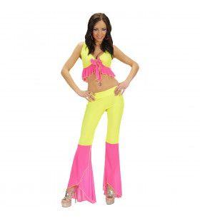 Samba Top En Broek Neon Geel-Roze Colors Kostuum Vrouw