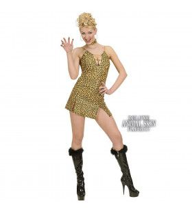 Jurk Luipaardprint Met Halsband Hot Safari Kostuum Vrouw