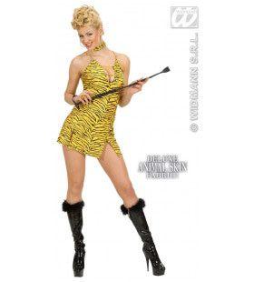 Jurk Tijgerprint Met Halsband Tiger Lady Kostuum Vrouw