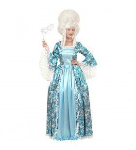Markiezin Blauw-Zilver Prinses Beehive Kostuum Vrouw