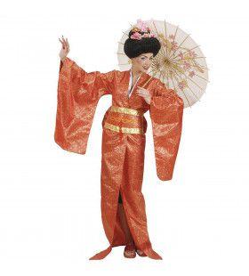 Geisha Rood Luxe Rijzende Zon Kostuum Vrouw