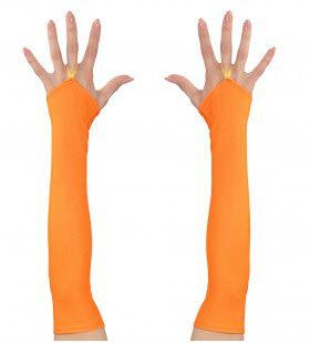 Tachtiger Jaren Vingerloze Handschoenen Satijn, Neon Oranje