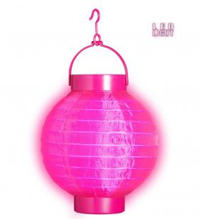 Feestelijke Lampion Met Licht 15 Centimeter Roze