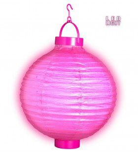 Feestelijke Lampion Met Licht 30cm, Roze