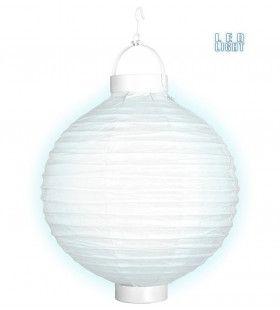 Feestelijke Lampion Met Licht 30cm, Wit