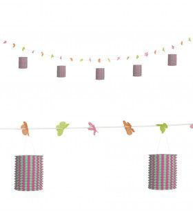 Feestelijke Slinger Met Lampions En Bloemen Roze / Groen, 3mtr