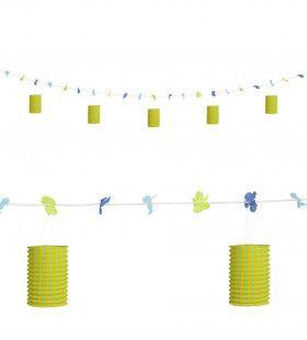 Feestelijke Slinger Met Lampions En Bloemen Geel / Groen, 3mtr